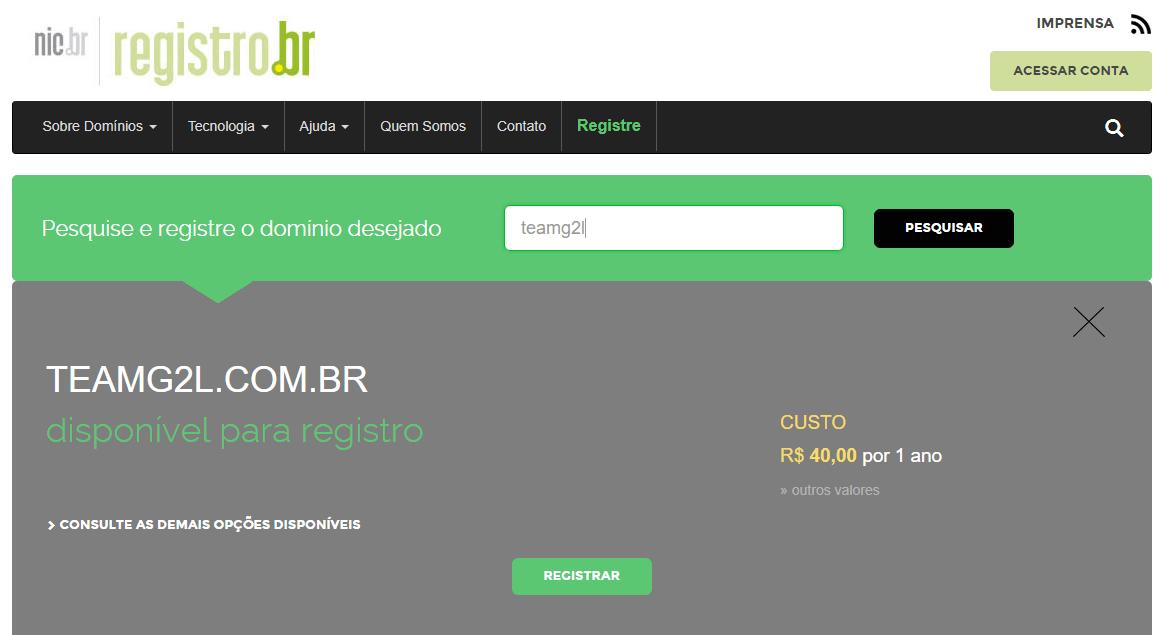 registrando um dominio br